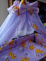 Красивый сиреневый балдахин для детской кроватки. Шифон