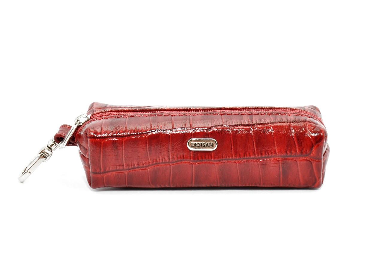 Чехол для ключей кожаный ключница на змейке красная Desisan 207-4 Турция