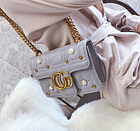 Новинка! Стильная женская сумка Gucci GG Marmont с бусинками серого цвета 485e0a921c0