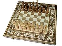 Деревянные Шахматы + Нарды, 44х44 см. Инкрустация бисером