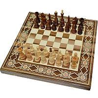 Деревянные Шахматы + Нарды, 50х50 см. Инкрустация бисером