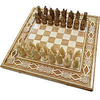 """Резные Шахматы + Нарды """" Рыцари """". 60х60 см. Бисер. Ручная работа"""