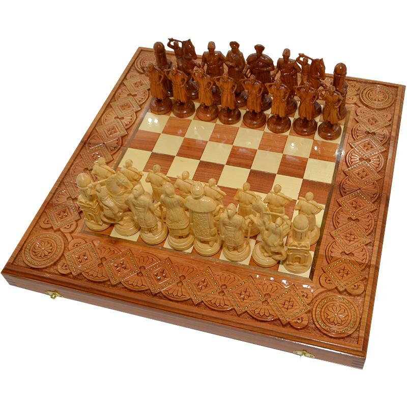 "Деревянные Шахматы + Нарды  ""Казаки"", 50х50 см. Инкрустация медью"