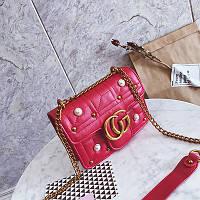 Новинка! Стильная женская сумка Gucci GG Marmont с бусинками красного цвета