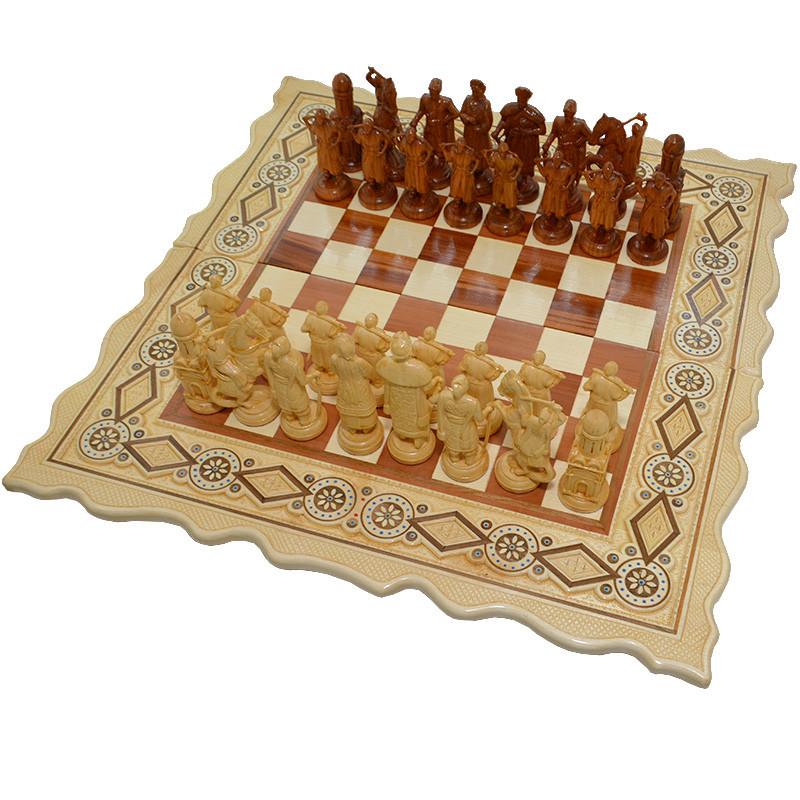"""Деревянные Шахматы + Нарды, """"Казаки"""" см. Инкрустация бисером"""