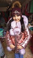 Куртка зимняя с мехом детская для девочки лимонная на возраст от 3х до 8 лет Knad-750e
