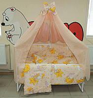 Красивый персиковый балдахин для детской кроватки. Шифон