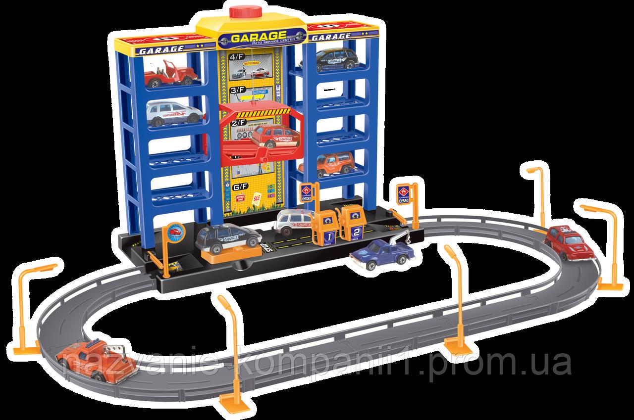 """Игровой набор Dave Toy City Parking Гараж с треком, 6 машинок (32007)  - Интернет магазин """"Радуга.toys"""" товары для детей в Киеве"""