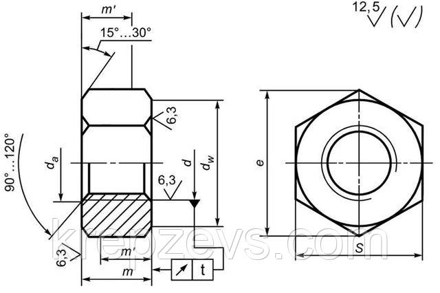 Схема гайки ГОСТ Р 52645-2006
