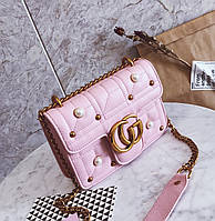 Новинка! Стильная женская сумка Gucci GG Marmont с бусинками розового цвета