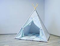 Вигвам детский игровой «Мятные волны» с толстым матрасом 120х120, фото 1