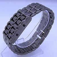 Необыкновенные суперсовременные led часы-браслет  iron samurai black из закаленной японской стали