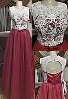 Вечернее платье (Веч-ЛТ-18-01) для выпускного, свидетельницы и пр. мероприятий (цвет - бордо, 46 (44-42))