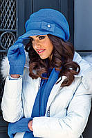 Lorena зимняя женская шерстяная шапка с козырьком Kamea, шерстяная, голубой цвет