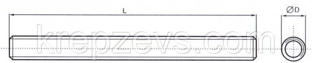 хема габаритных размеров резьбовой шпильки DIN 975
