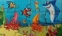 Пазл дерев'яний з підложкою: Підводний світ