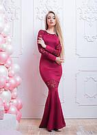 Длинное вечернее платье с отделкой из гипюра