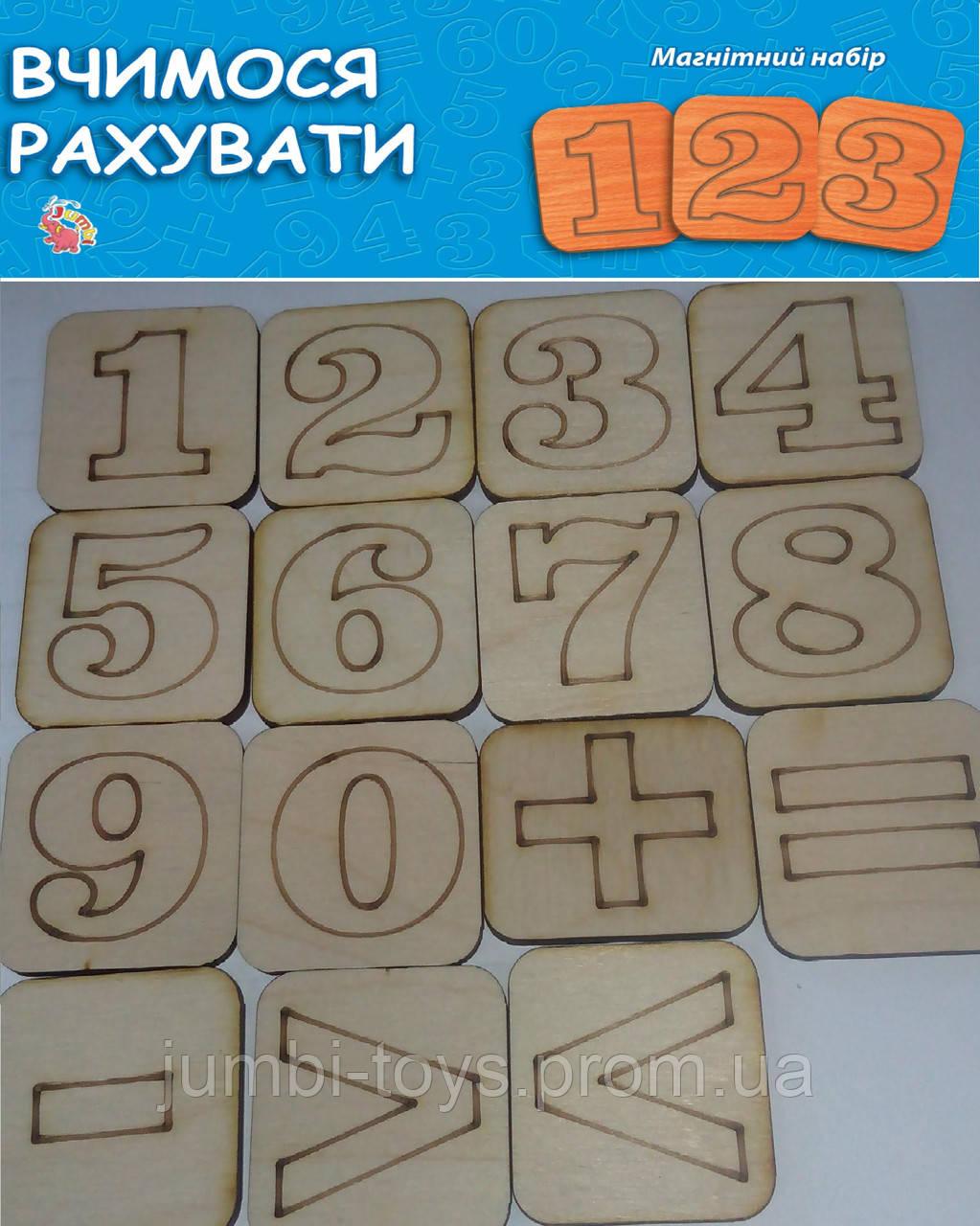 Дерев'яна іграшка: Вчимося рахувати Цифри на магнітах (у)