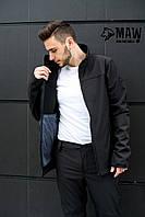 Soft Shell Мужская спортивная куртка софтшелл на флисе влагоустойчевая MAW man&wolf
