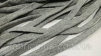 Шнурки х/б плоские метражные 1 см серые