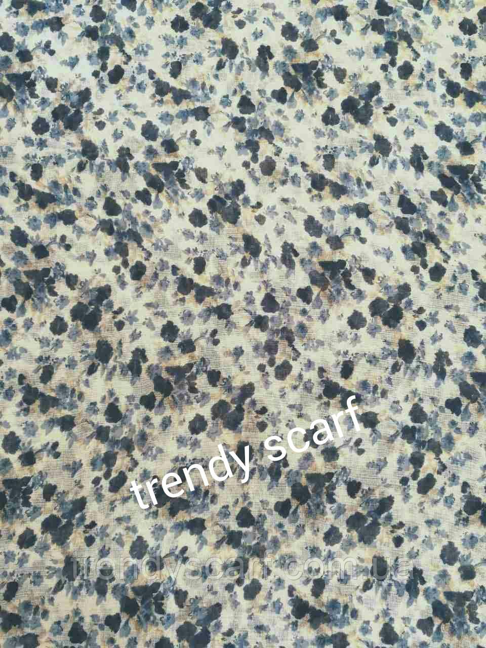 Женский Шарф палантин Прованс. Серый, голубой, черный, белый. цветы, цветочный принт. Вискоза 180/60