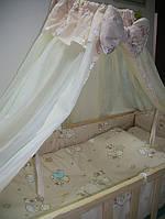 Красивый молочный балдахин для детской кроватки. Шифон
