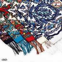 Белый павлопосадский платок Осенний круговорот, фото 3