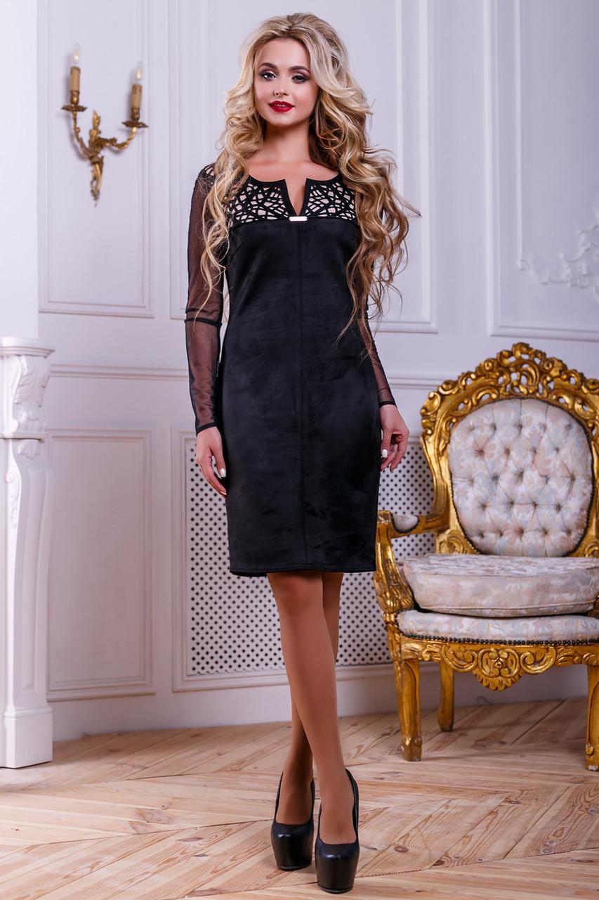 Нарядное женское платье из эко-замша с перфорацией, чёрное, размер 44, 46