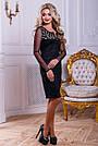 Нарядное женское платье из эко-замша с перфорацией, чёрное, размер 44, 46, фото 6