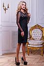 Нарядное женское платье из эко-замша с перфорацией, чёрное, размер 44, 46, фото 5