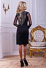 Нарядное женское платье из эко-замша с перфорацией, чёрное, размер 44, 46, фото 4
