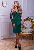 Нарядное женское платье из эко-замша с перфорацией, зелёное, размер 44-50