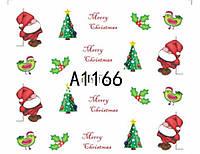 Слайдер  для ногтей 1166 Новогодний дизайн