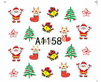 Слайдер  для ногтей 1158 Новогодний дизайн