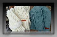 Вязаные зимние комплекты шапка, снуд, варежки