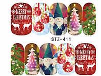 Слайдер  для ногтей STZ-411 Новогодний дизайн