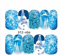 Слайдер  для ногтей STZ-406 Новогодний дизайн