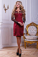 Нарядное женское платье из эко-замша с перфорацией, марсала, размер 46