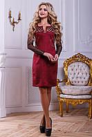 Нарядное женское платье из эко-замша с перфорацией, марсала, размер 48
