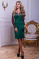 Нарядное женское платье из эко-замша с перфорацией, зелёное, размер 46