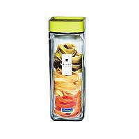 Стеклянный контейнер-банка для хранения спагетти, макарон и сыпучих продуктов с крышкой Glasslock Lego, 1300 мл., квадратный, зеленый (IP-606)