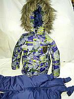 """Зимний костюм для мальчика """"Авантюрист"""" серый с зеленым. Размер 92+ (2-3 года)"""