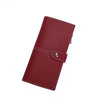 Женский кошелек портмоне красный на кнопке, фото 1