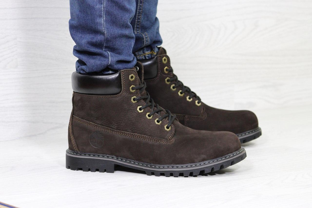 Мужские зимние ботинки Timberland,Тимберленд,нубук,темно коричневые 44,45р