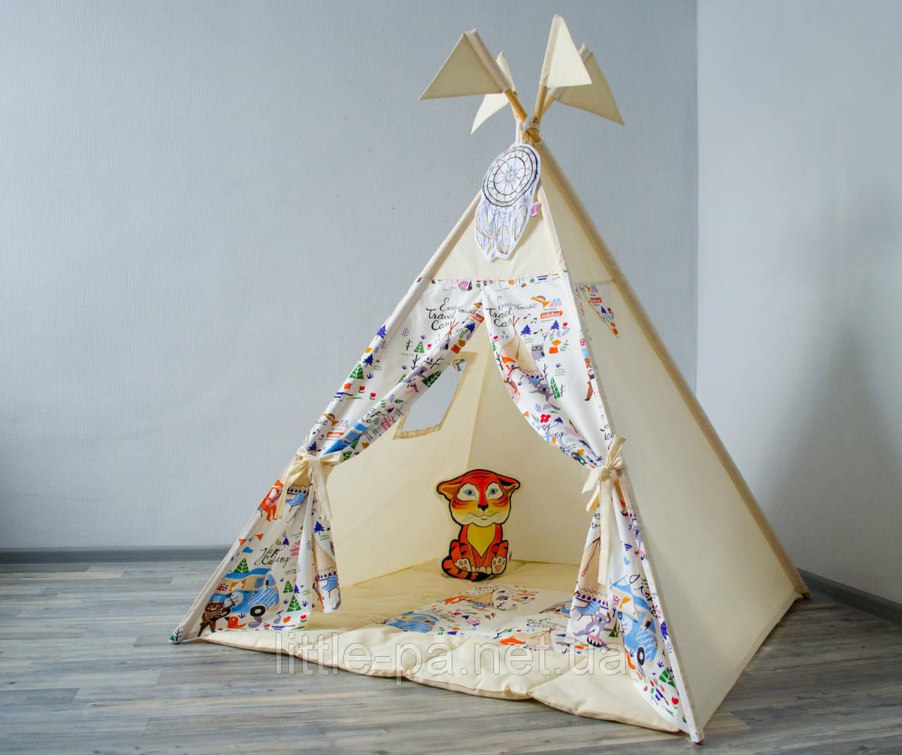Игровой детский вигвам «Пикник» с матрасом 120х120