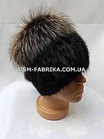 Теплая меховая шапка для женщин чернобурка оптом и в розницу, фото 1