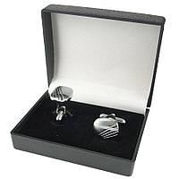 Стильные мужские запонки под серебро (Турция) 0150С