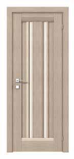 Mikela  Двери межкомнатные Двери с ПВХ покрытием полустекло сатин