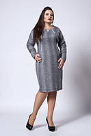 Офисное женское платье из трикотажа из люрексовой нитью, светло-серое