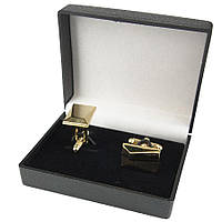 Мужские запонки под золото прямоугольной формы (Турция) 0150С